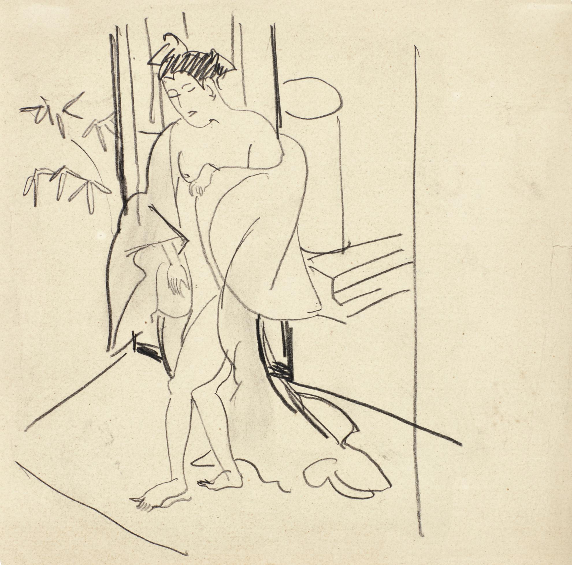 Ernst Ludwig Kirchner-Nackte Figur Mit Umhang (Japanisch) (Nude Figure With A Cape (Japanese))-1911