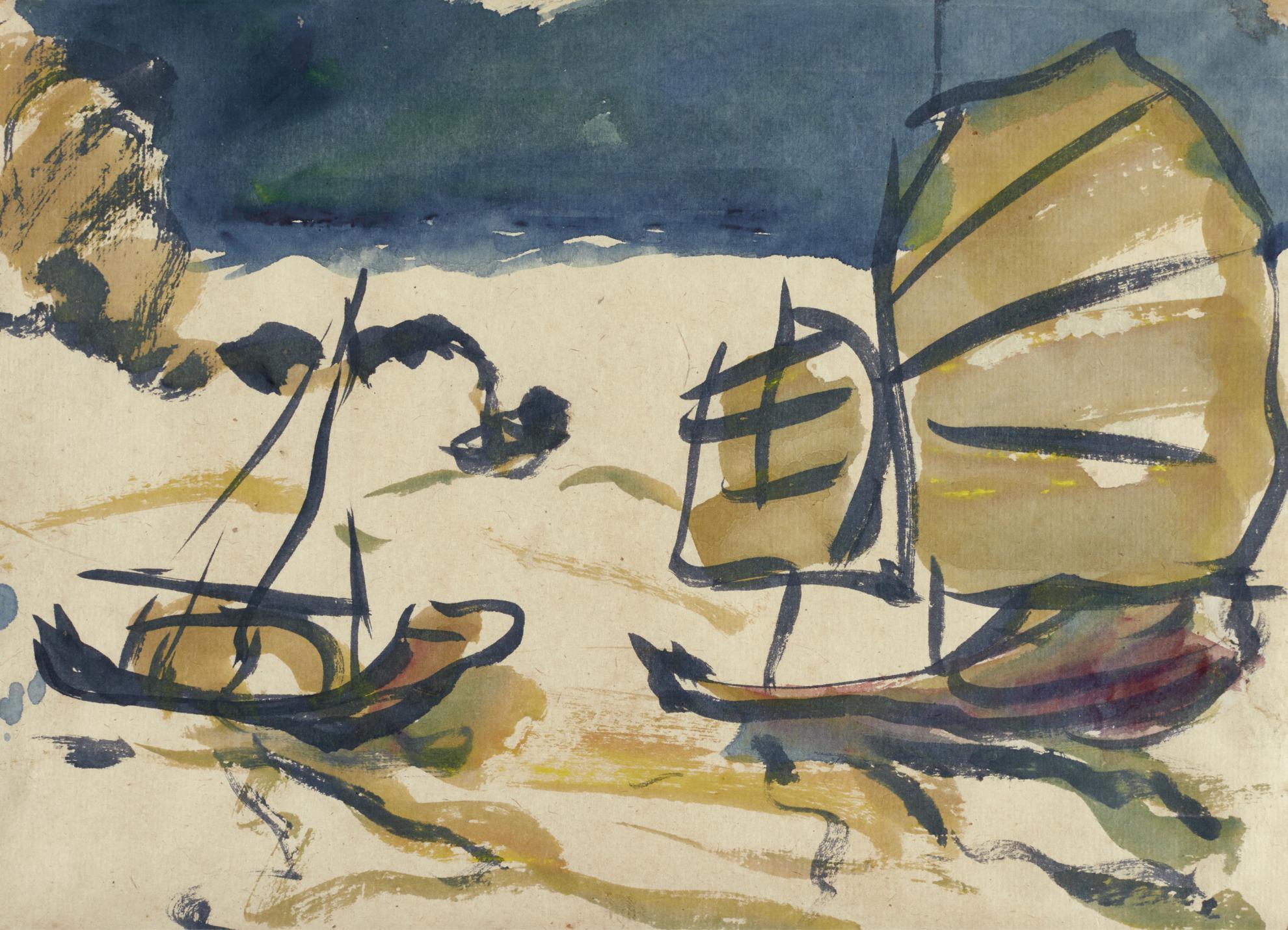 Emil Nolde-Dschunken Vor Hong Kong (Chinese Junk Boats In Hong Kong)-1913