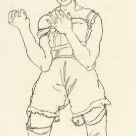 Egon Schiele-Stehendes Madchen Mit Erhobenen Handen (Standing Girl With Hands Raised)-1917