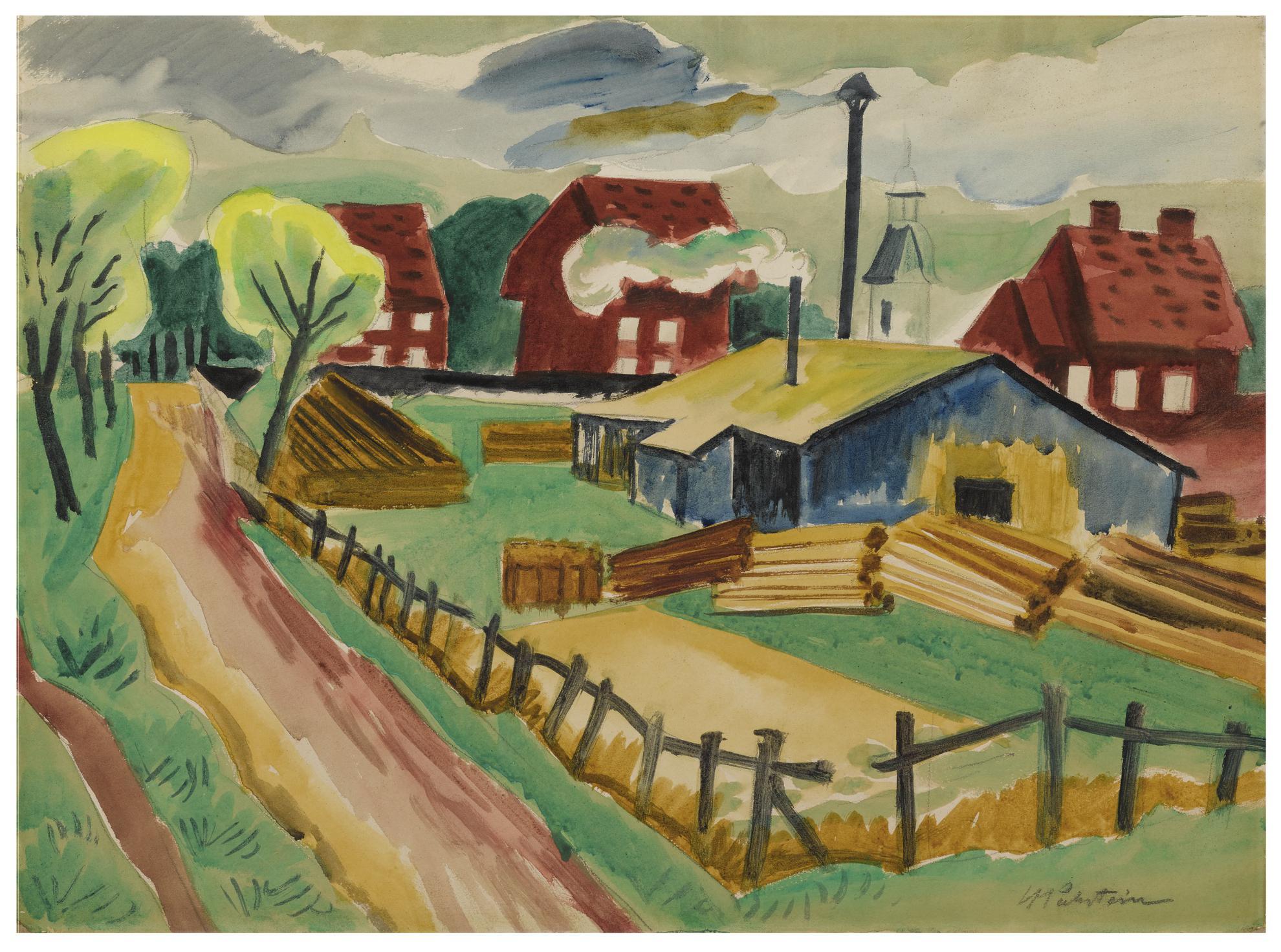 Max Pechstein-Sagemuhle, Leba (Holzlagerplatz) (Sawmill, Leba (Timber Yard))-1922