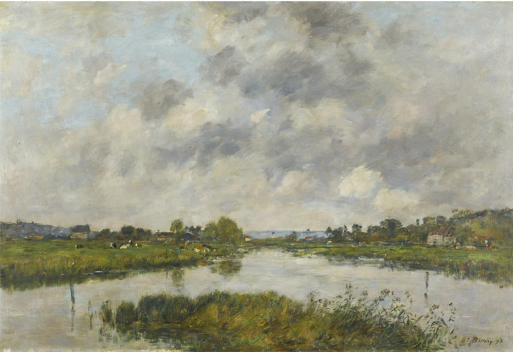 Eugene Louis Boudin-La Riviere Morte A Deauville-1893