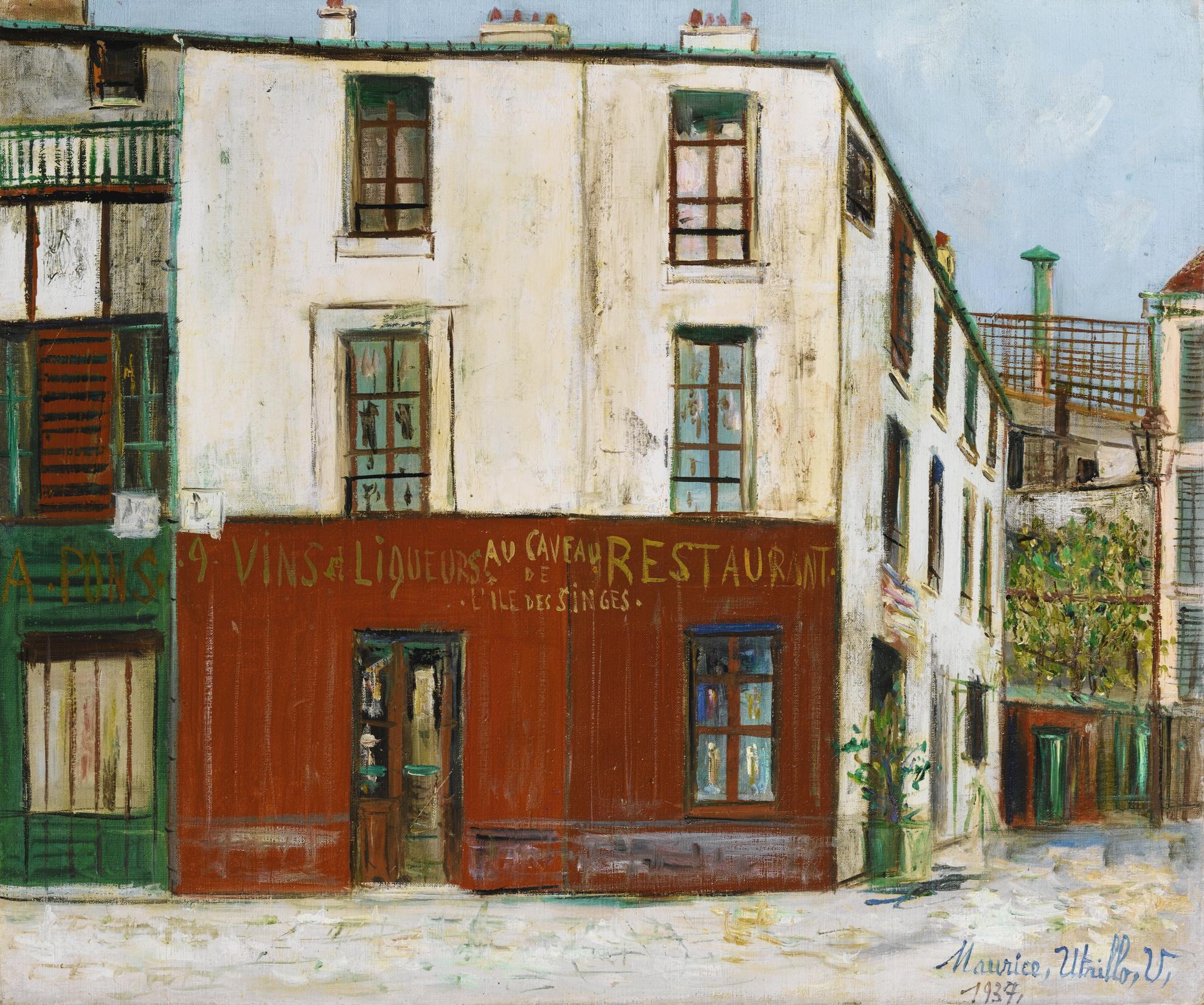 Maurice Utrillo-Au Caveau De Lile Des Singes, Les Gobelins, Paris-1937