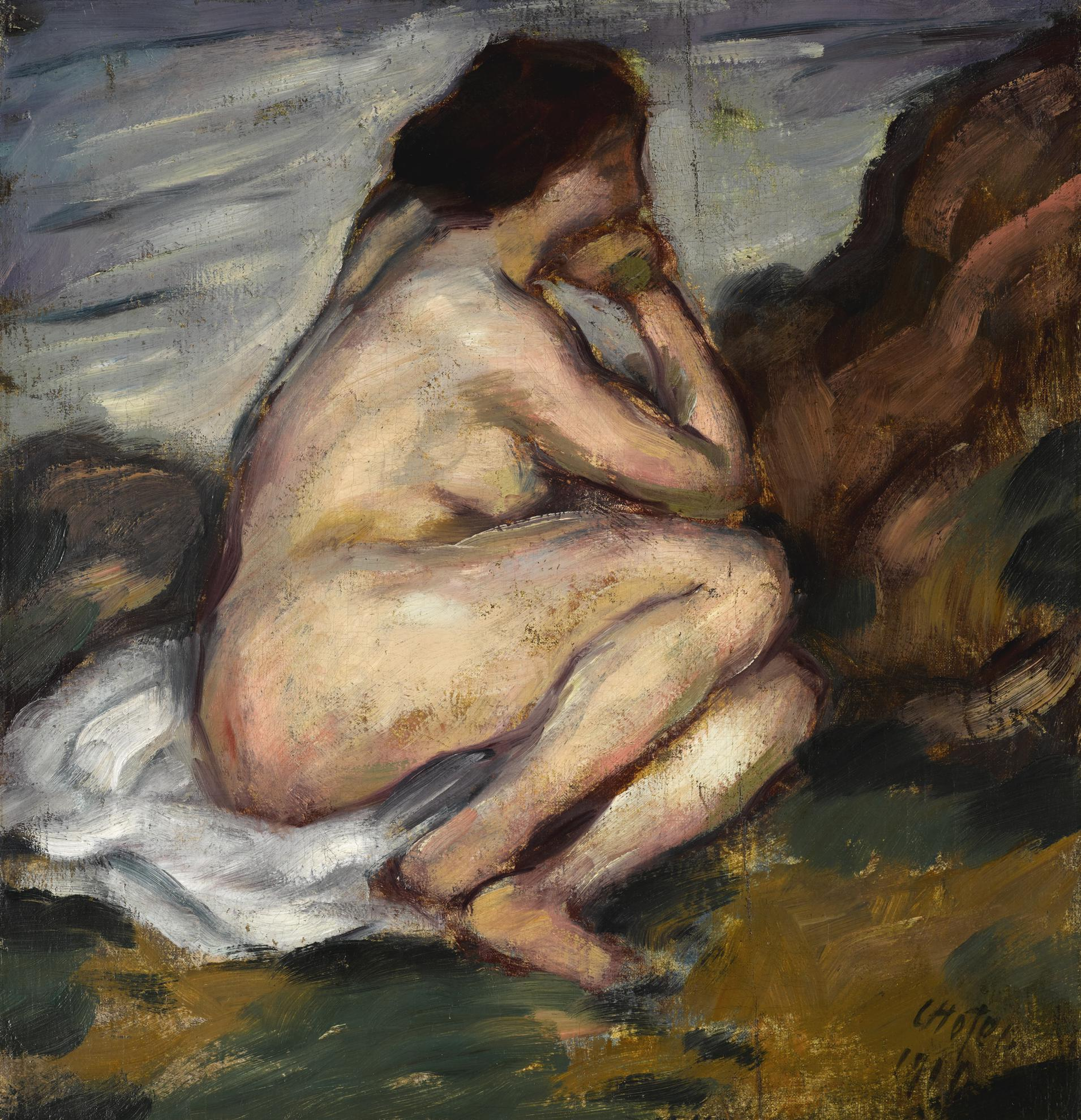Karl Hofer-Sitzender Weiblicher Akt (Seated Female Nude)-1910
