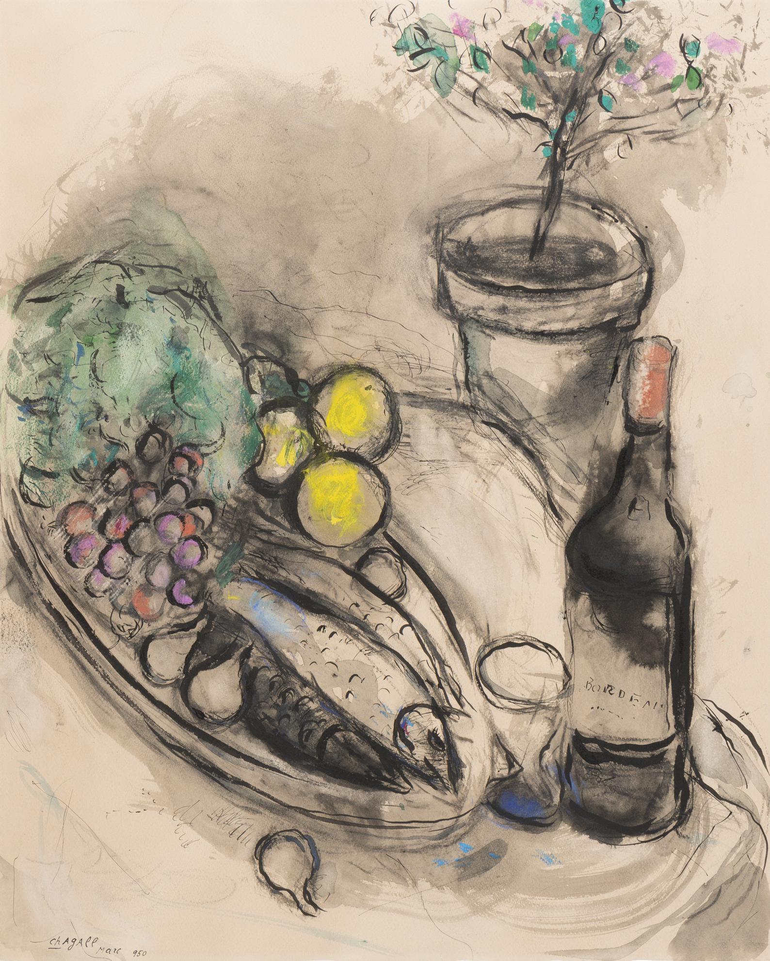 Marc Chagall-La Bouteille De Bordeaux-1950