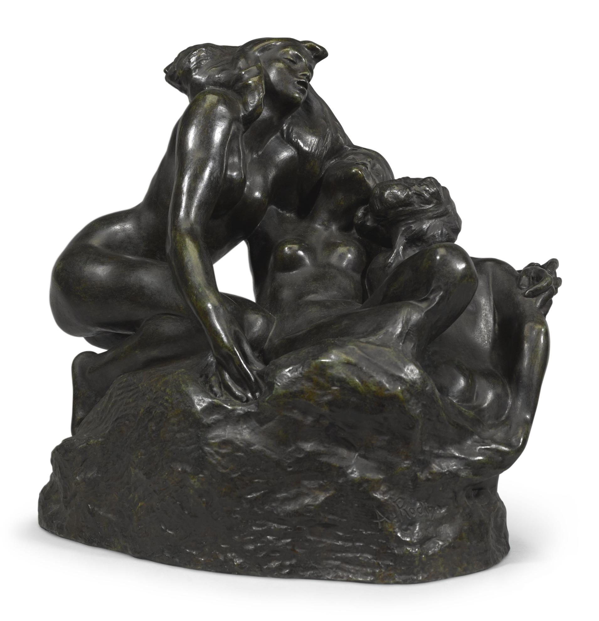 Auguste Rodin-Nereides, Grand Modele Or Trois Sirenes Or La Vague-1887