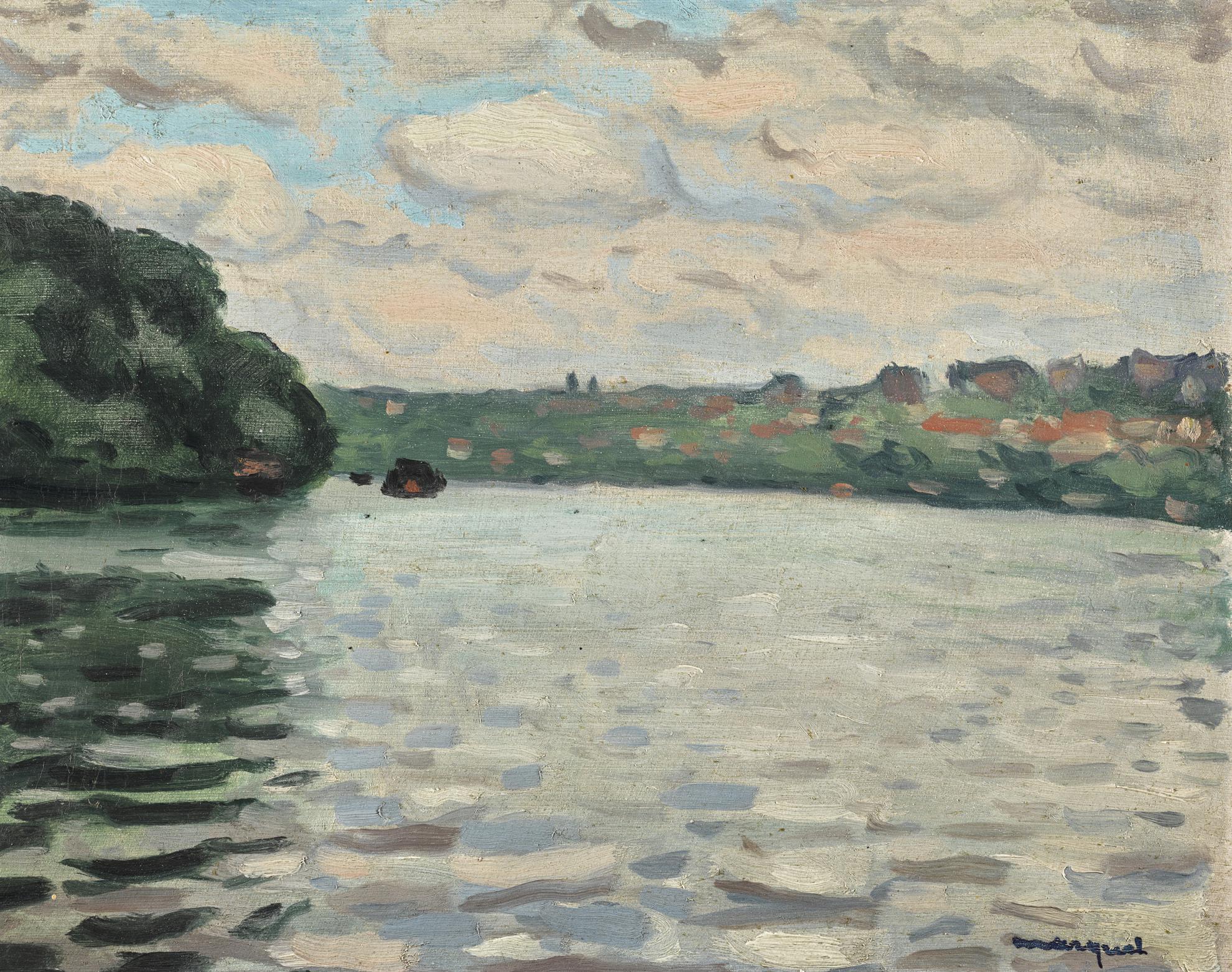 Albert Marquet-La Seine A La Frette, Ciel Nuageux-1939