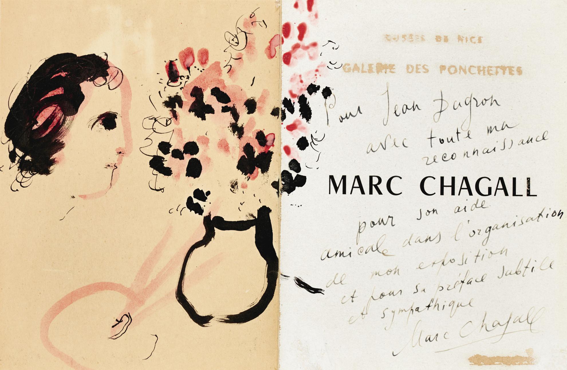 Marc Chagall-Profil De Peintre Au Bouquet-1952