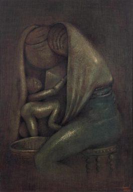 Simon Okeke - An Embrace: Mother And Child-1957
