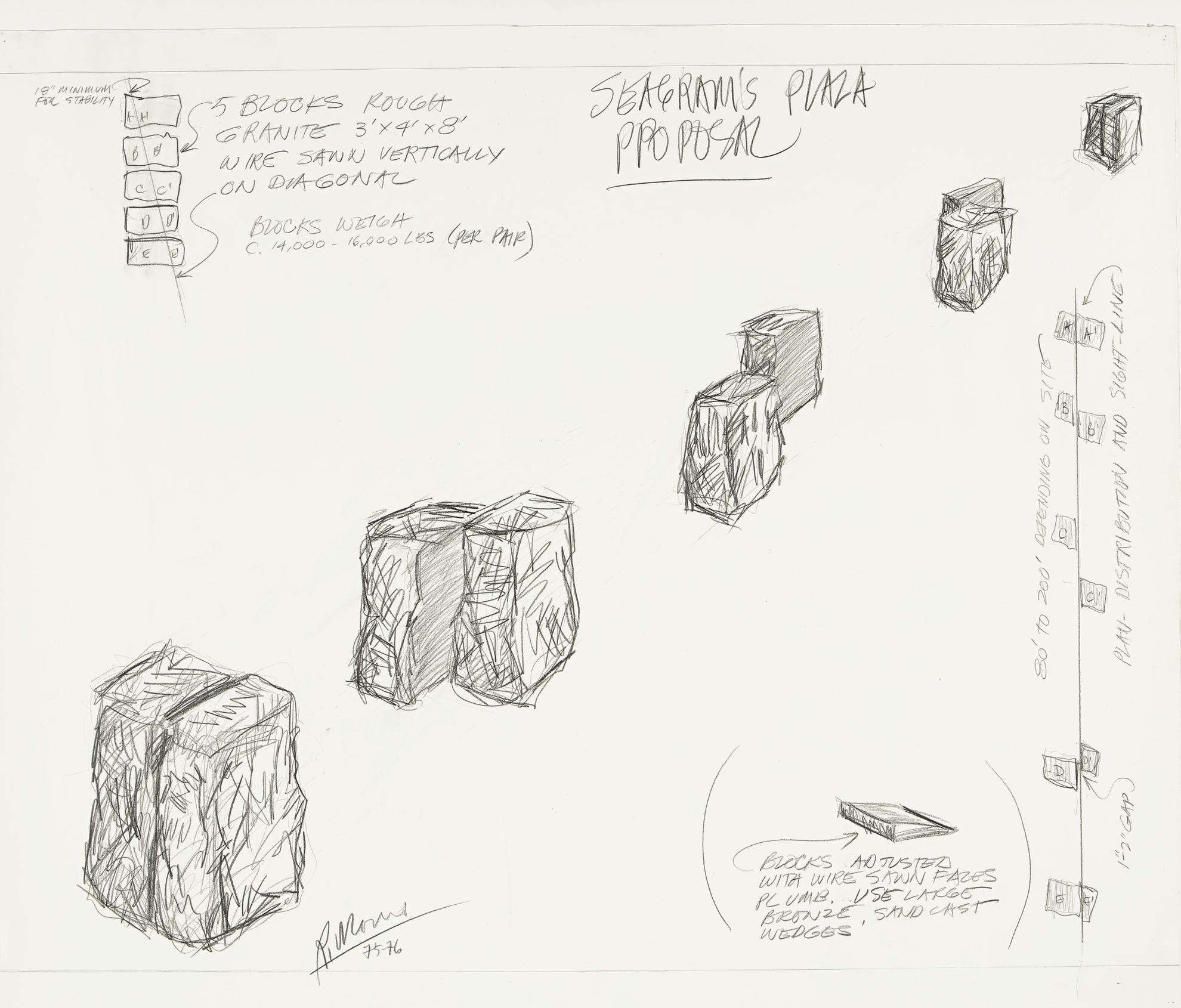 Robert Morris-Drawing For Granite Sightline No. 2-1976
