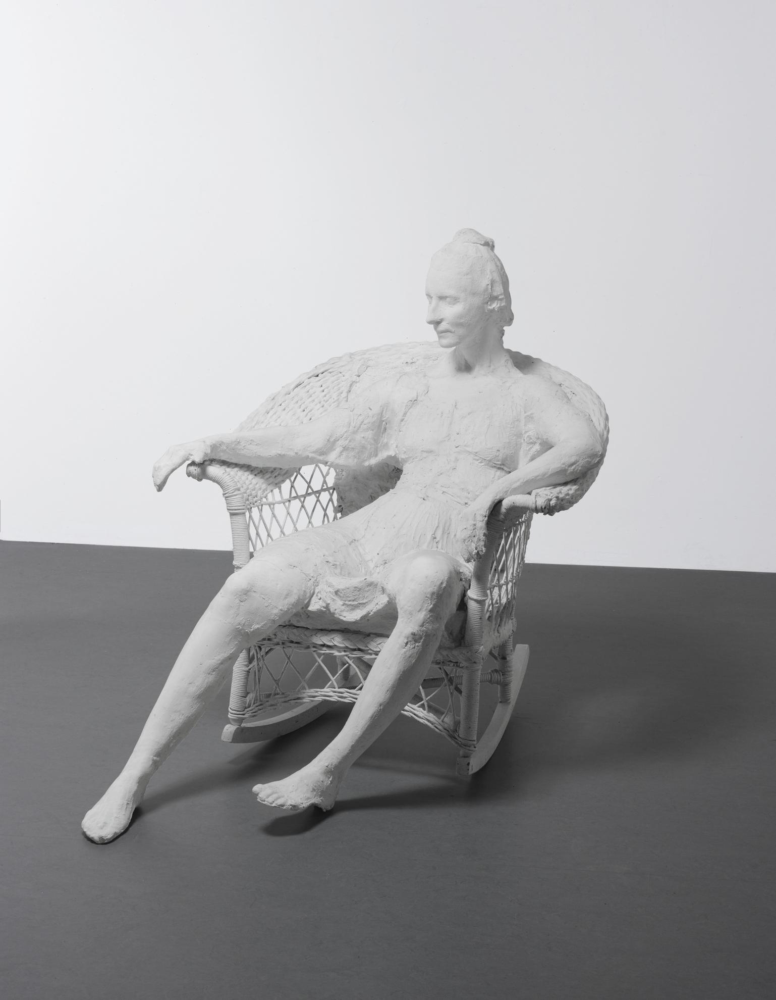 George Segal-Woman In A White Wicker Rocker-1984