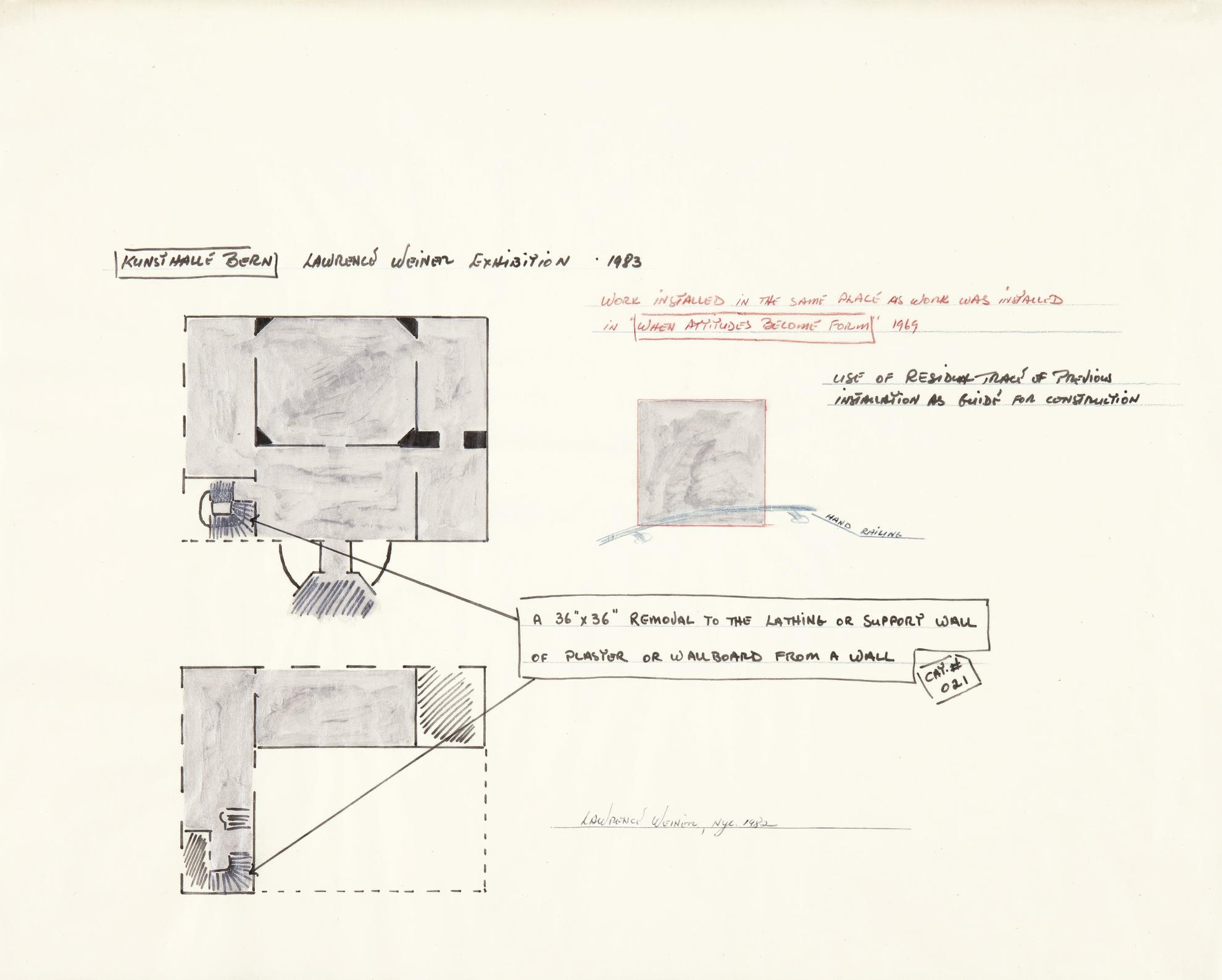 Lawrence Weiner-Primary Installation Drawing-1982