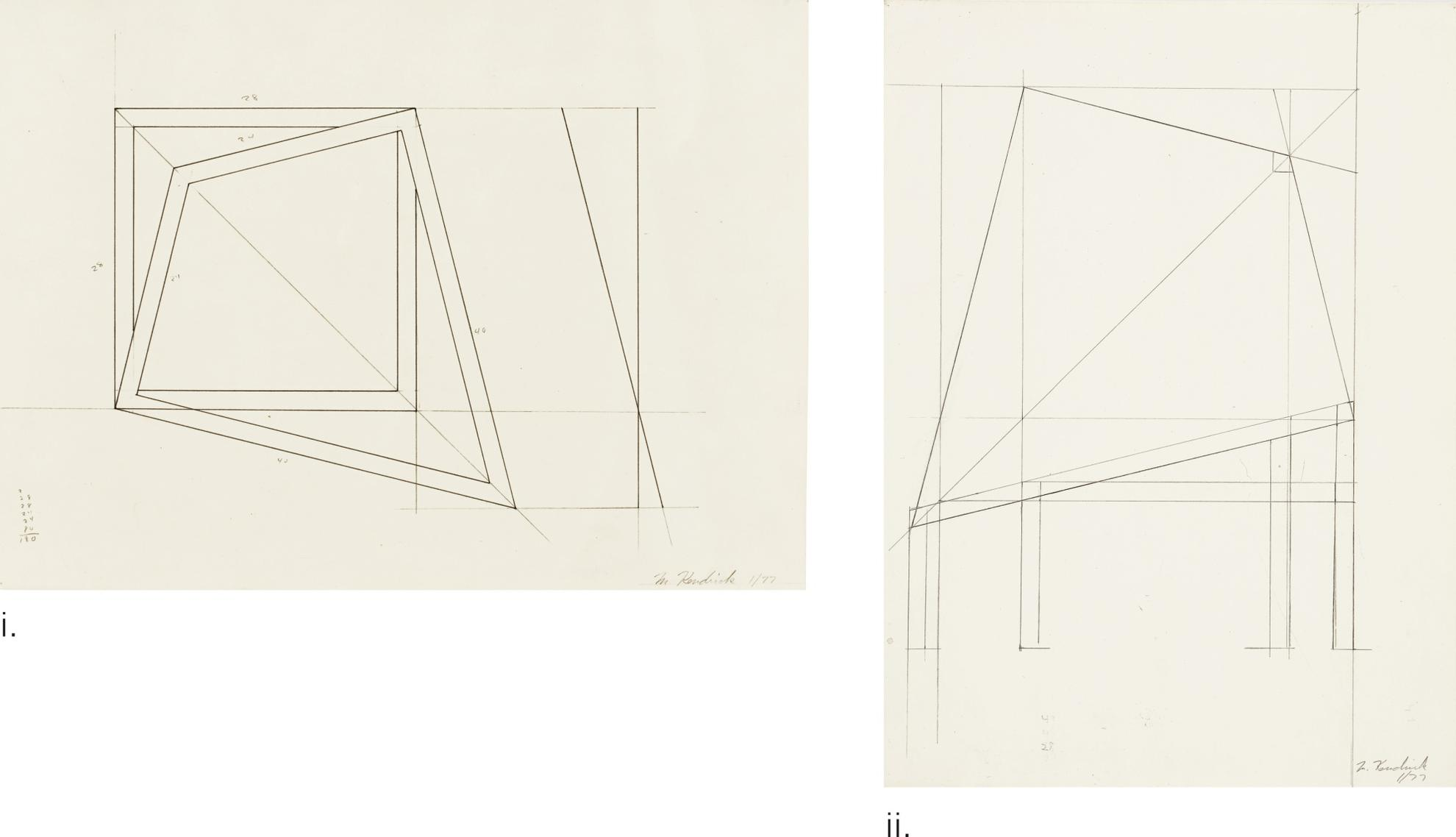 Mel Kendrick-Study For An Untitled Sculpture [Two Works]-1977