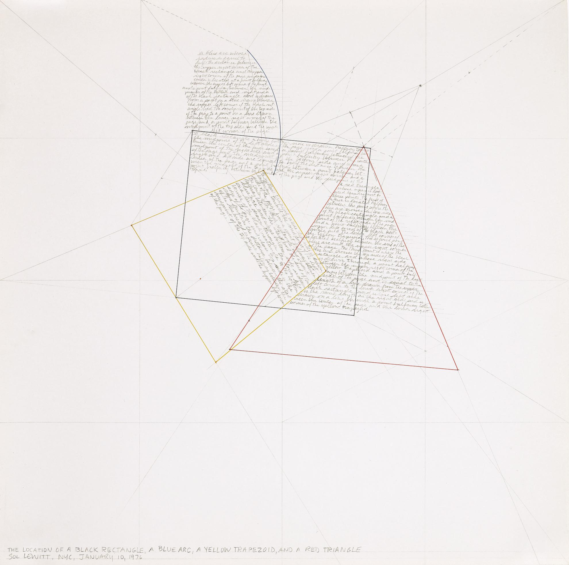 Sol LeWitt-Location Of A Black Rectangle, A Blue Arc, A Yellow Trapezoid, And A Red Triangle-1976