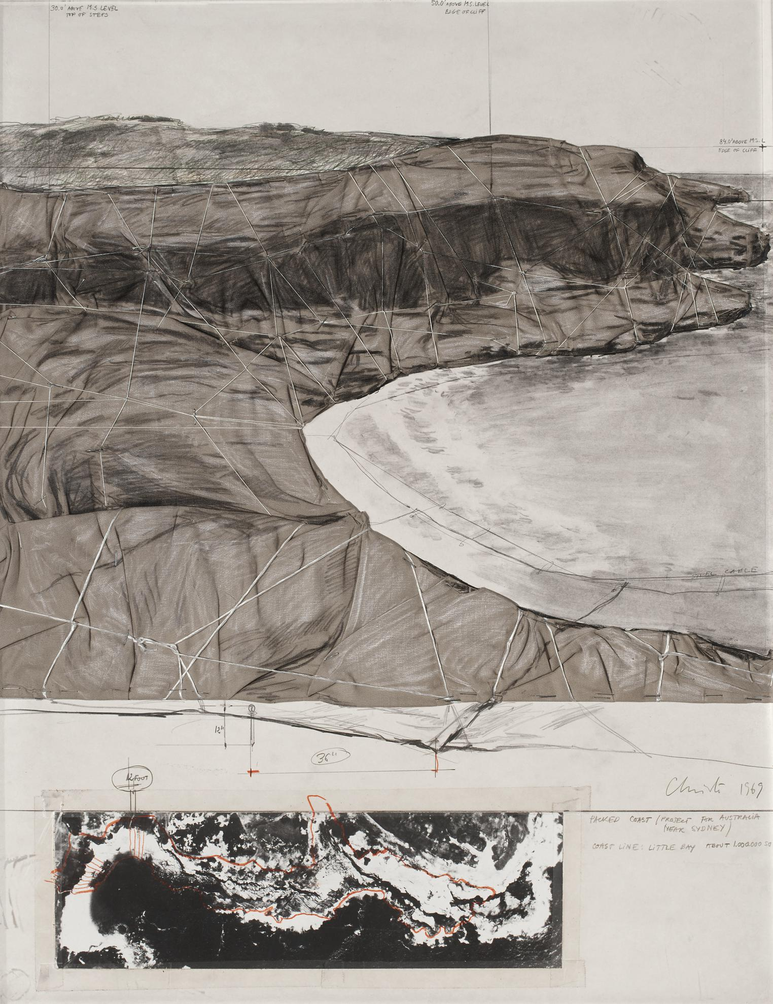Christo and Jeanne-Claude-Packed Coast (Project For Australia Near Sydney)-1969