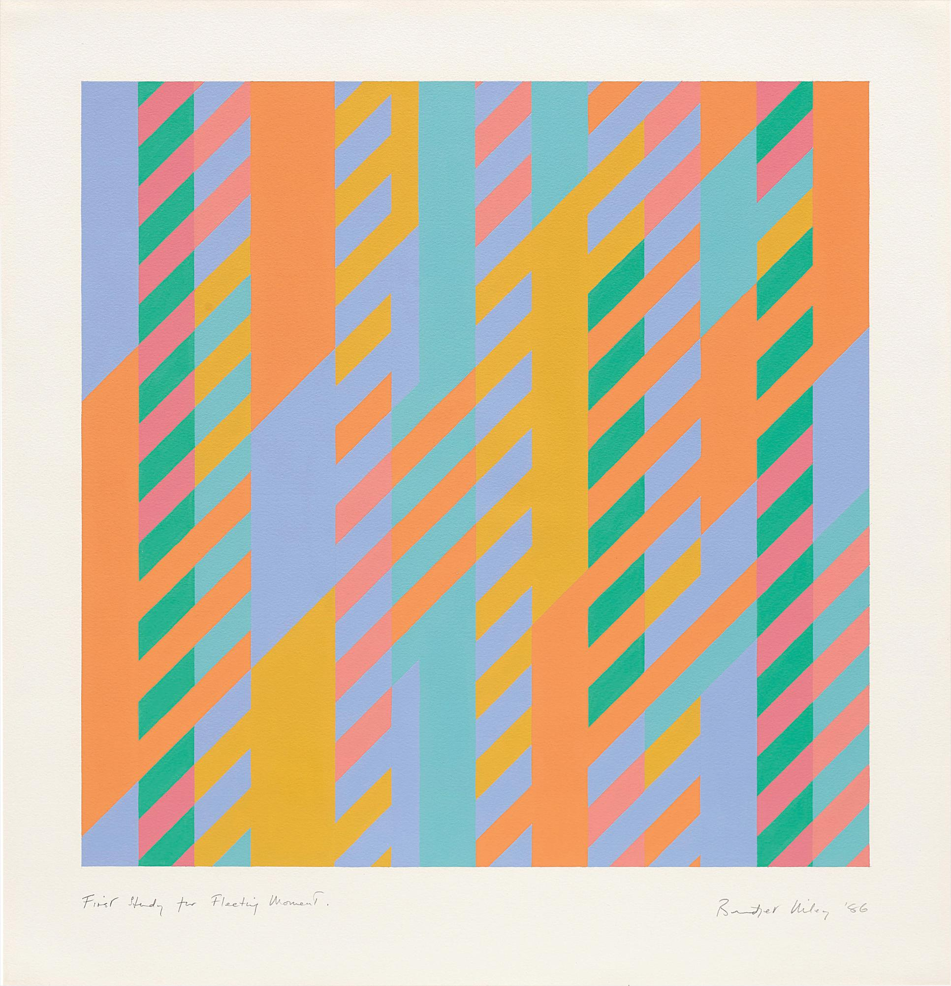Bridget Riley-First Study For Fleeting Moment-1986