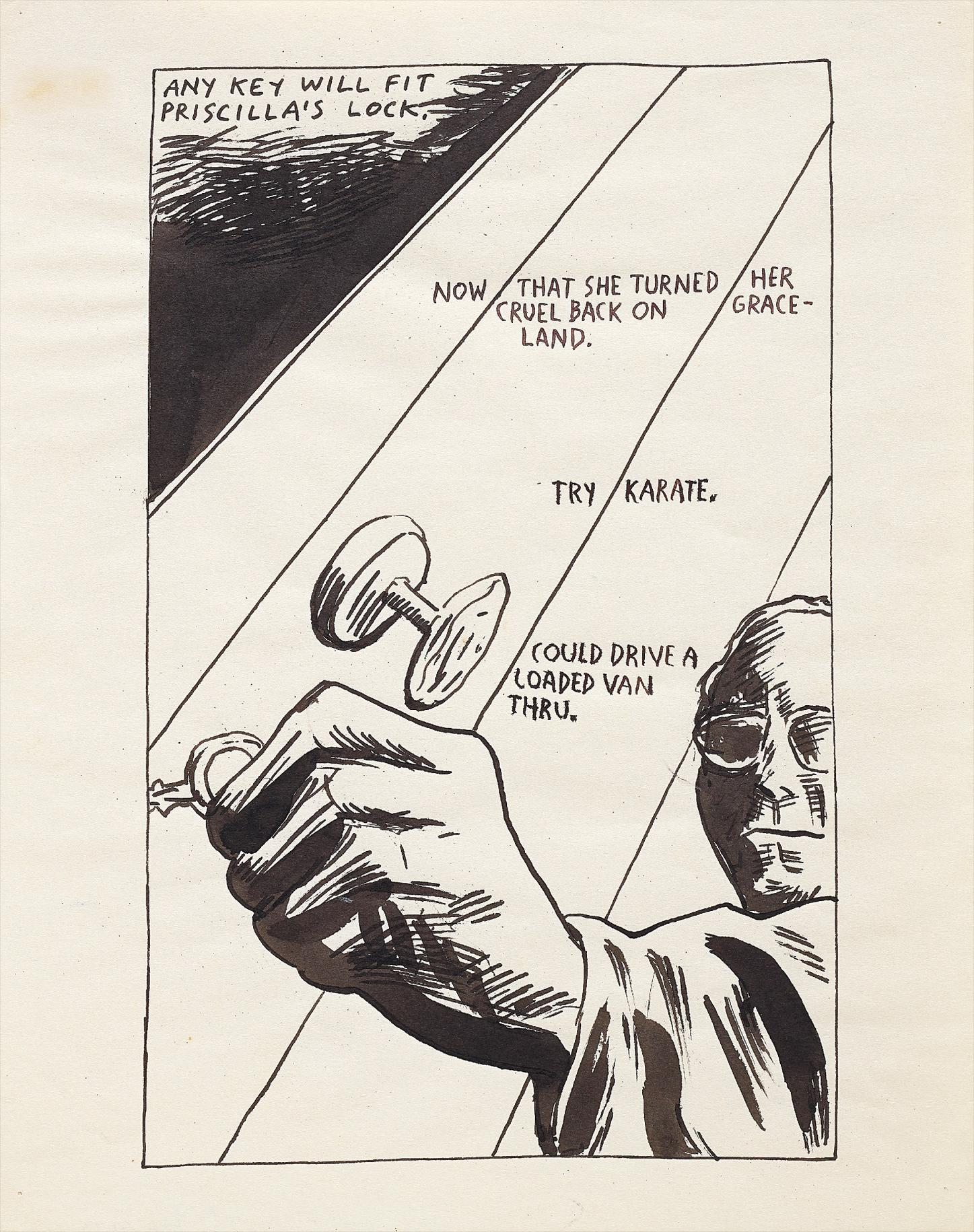 Raymond Pettibon-No Title (Any Key Will Fit Priscillas Lock)-1986