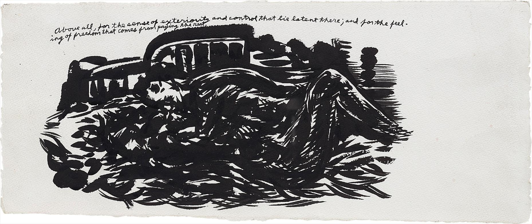Raymond Pettibon-No Title (Above All, For The Sense Of Exteriority And Control That Lie Latent There; And For The Feeling Of Freedom That Comes From Paying The Rent)-2003