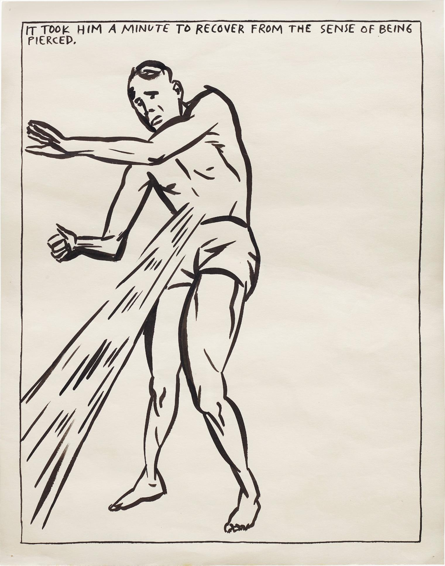Raymond Pettibon-No Title (It Took Him A Minute To Recover From The Sense Of Being Pierced)-1987