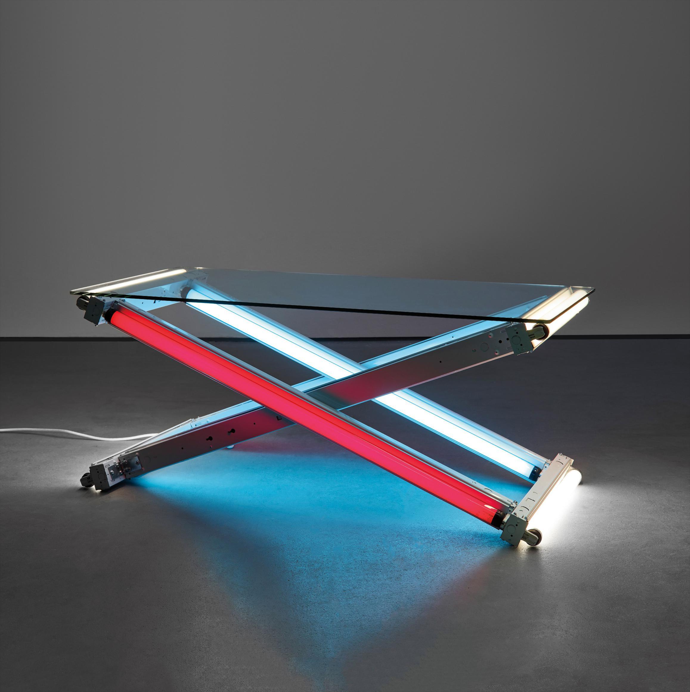 Ivan Navarro-Lamp Table (Blue-Red-White)-2003