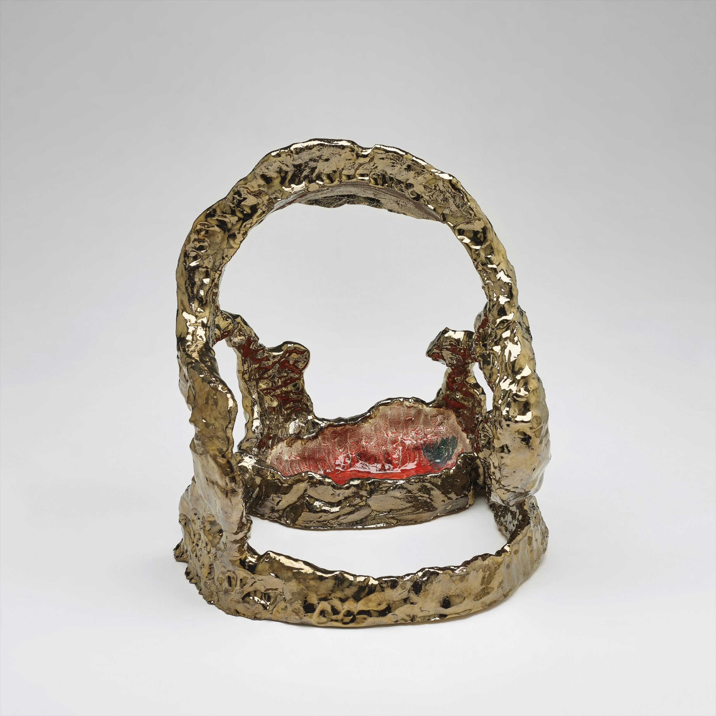 Sterling Ruby-Ceramic/Brass Facial With Red Bowl-2006