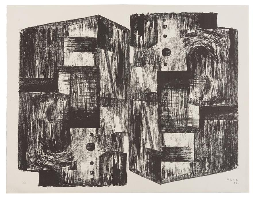 Henry Moore-Group Of Prints (4) - A: Square Forms; B: Eight Sculptural Ideas; C: Seven Sculptural Ideas; and D: Group of Figures-1974