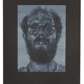 Chuck Close-Self-Portrait/Spitbite (White On Black)-1997