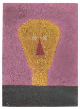 Rufino Tamayo-Cabeza Sobre Fondo Rosa (From 8 Aguafuertes)-1984