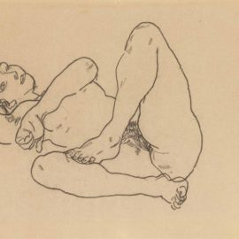 Egon Schiele-Liegender Akt Mit Gehobenem Bein-1918