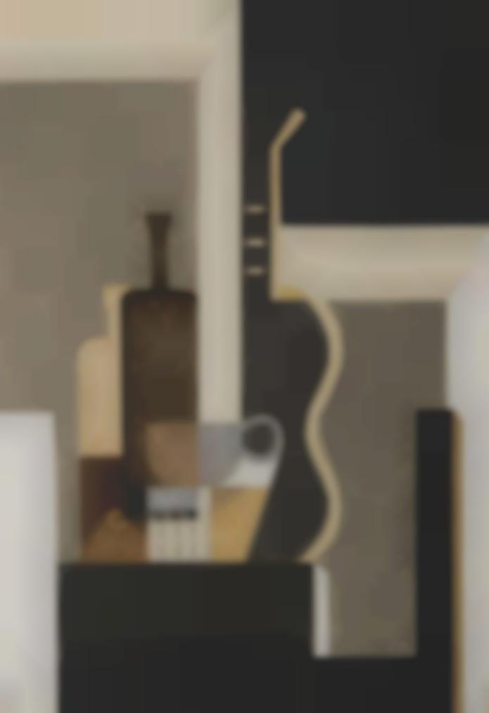 Amedee Ozenfant-Nature Morte (Aux Bouteilles, Verres Et Guitare)-1925