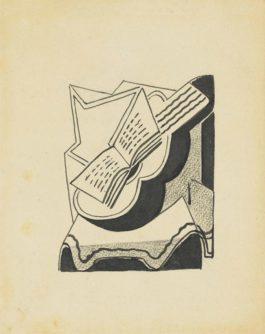 Juan Gris-Nature Morte A La Guitare Et Au Livre (Denise)-1926