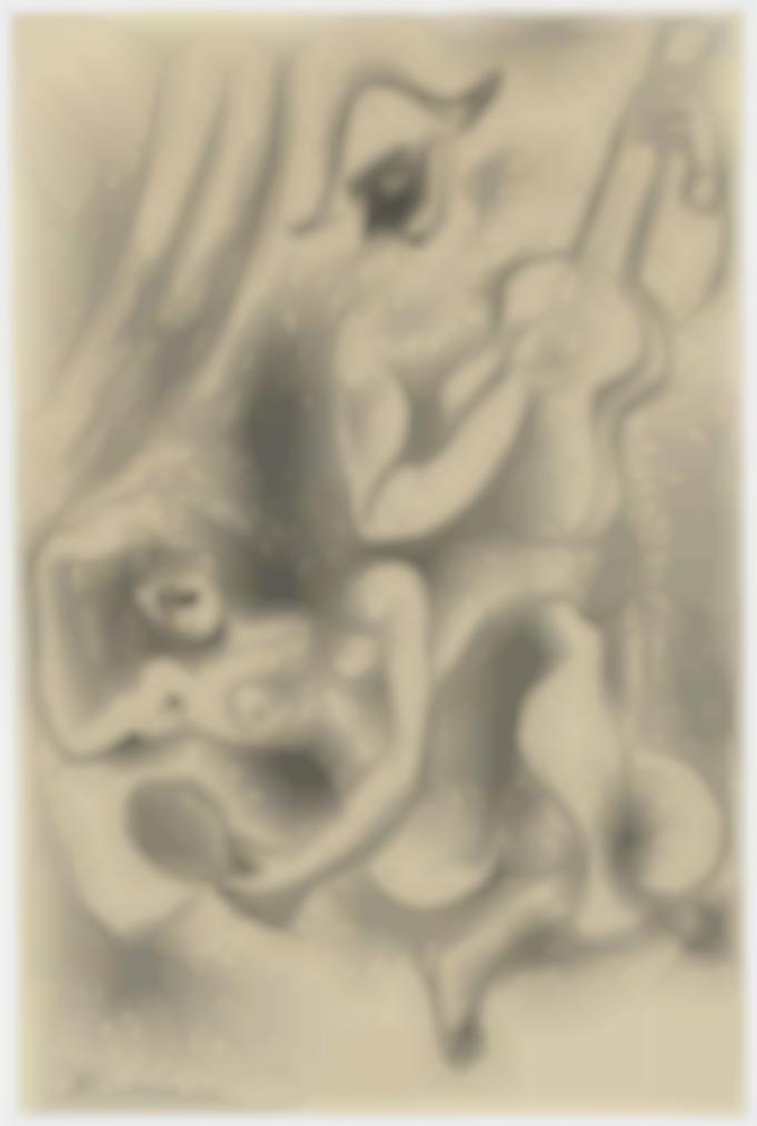 Pablo Picasso-Arlequin Et Nu Au Miroir-1918
