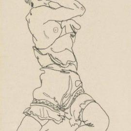 Egon Schiele-Auf Der Ferse Sitzende Frau-1917