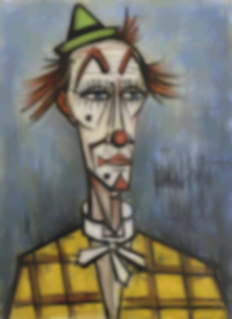 Bernard Buffet-Clown Blanc Au Chapeau Vert-1989