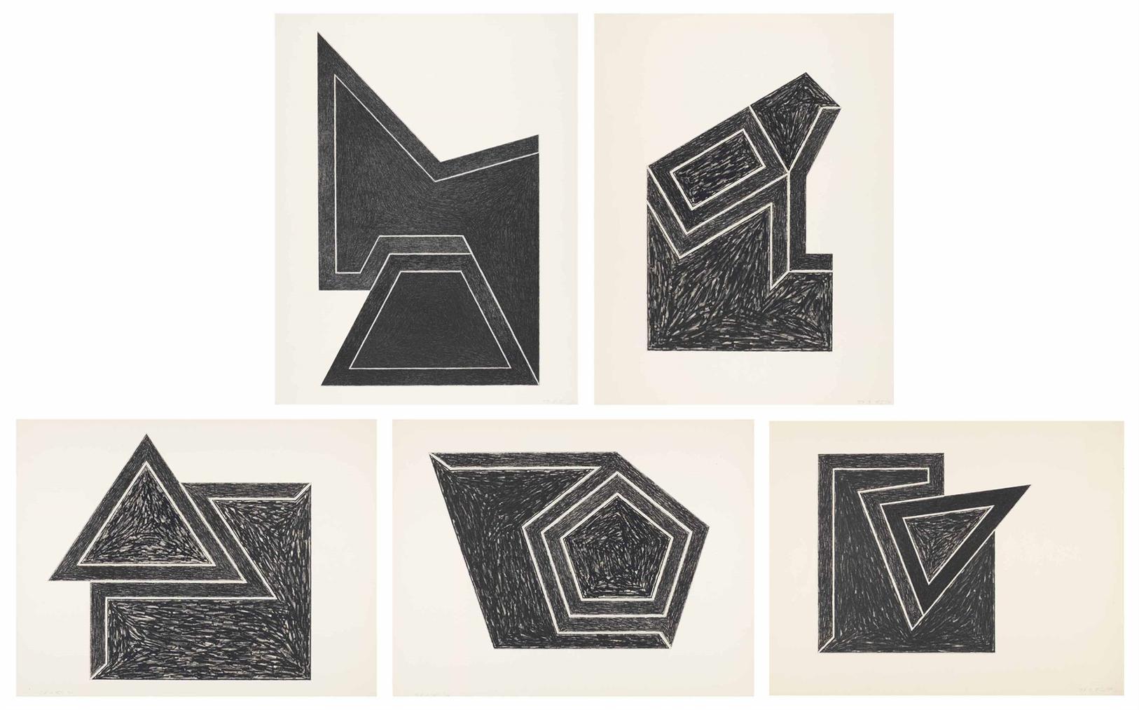 Frank Stella-Eccentric Polygons: Five Plates-1974