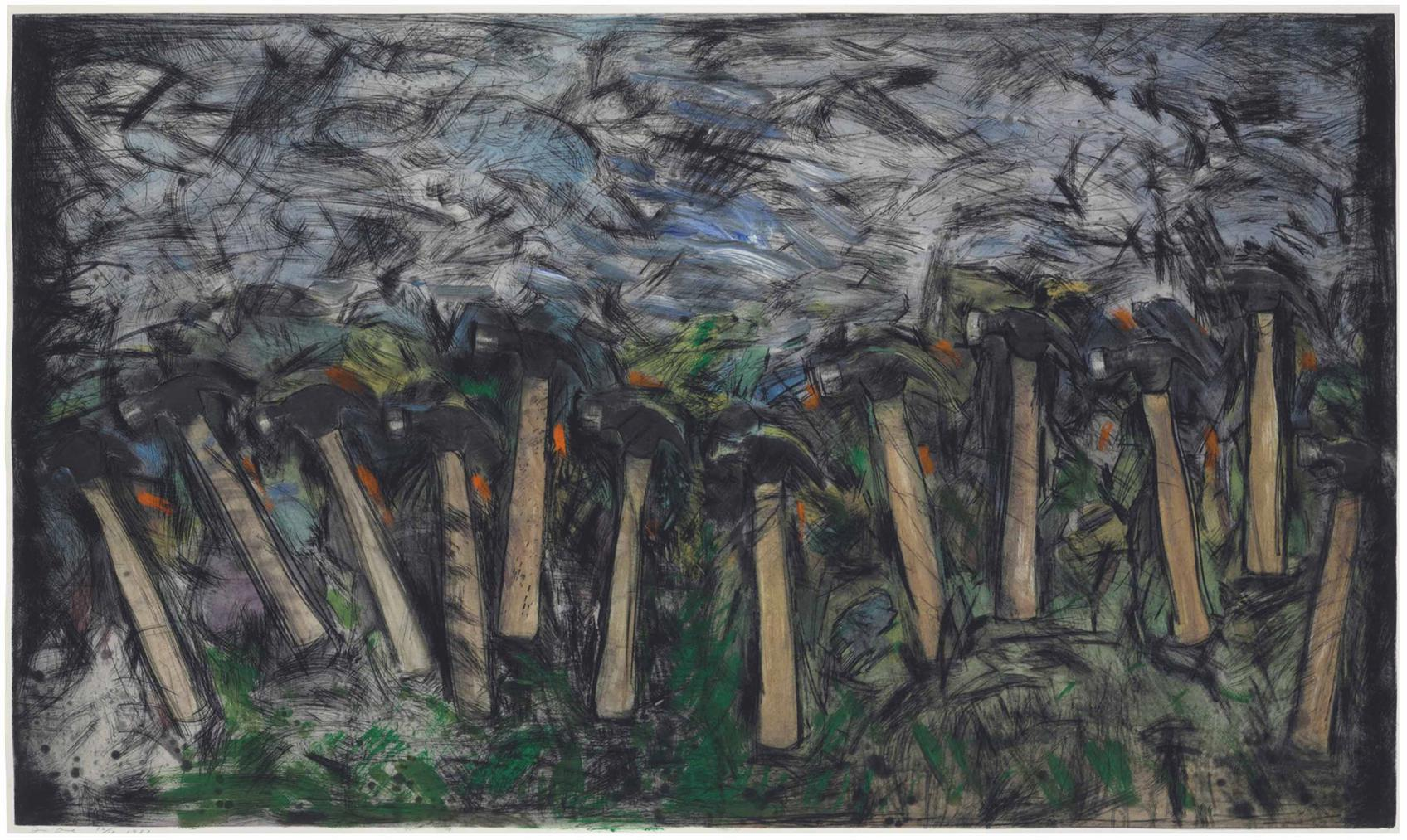 Jim Dine-Running Hammers In A Landscape-1987