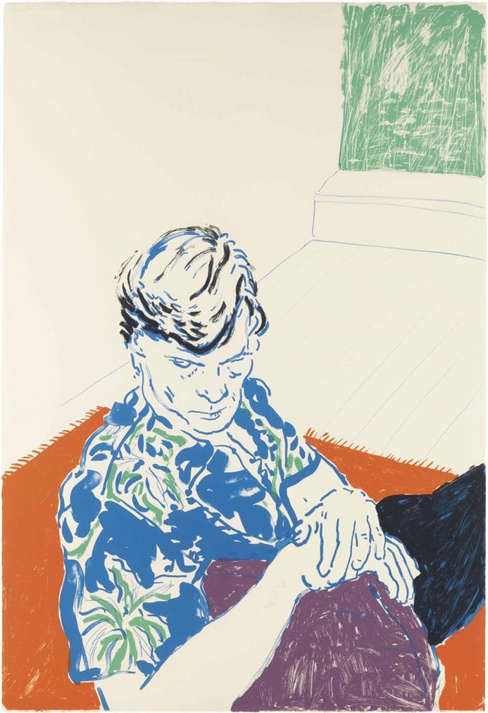 David Hockney-Joe With Green Window-1980