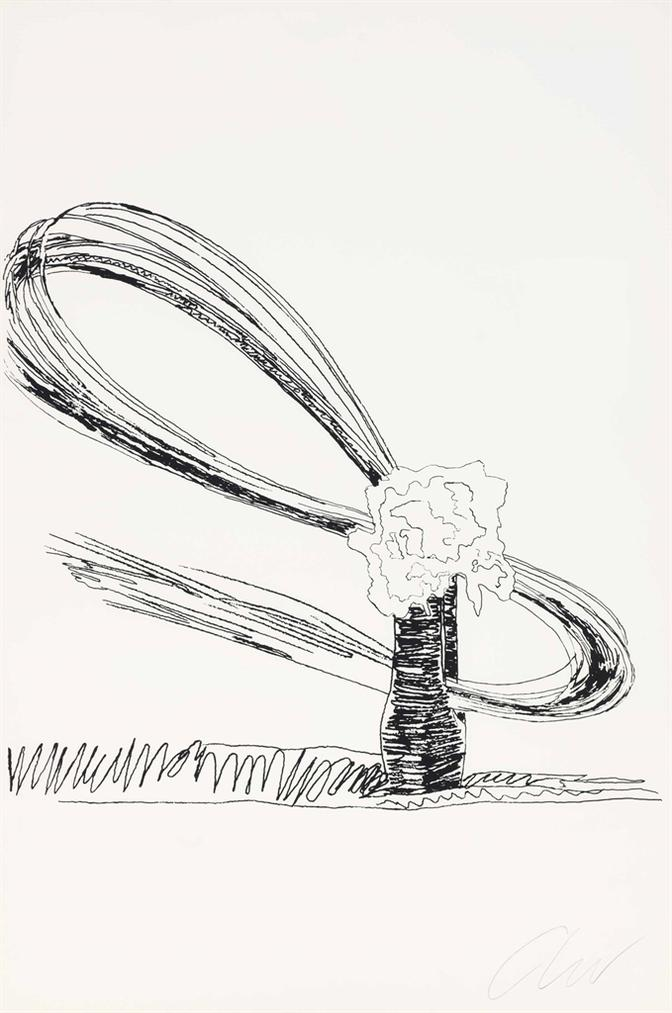 Andy Warhol-Flowers (Black And White): One Plate-1974