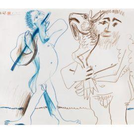Pablo Picasso-Homme A Lagneau Et Musicien-1967