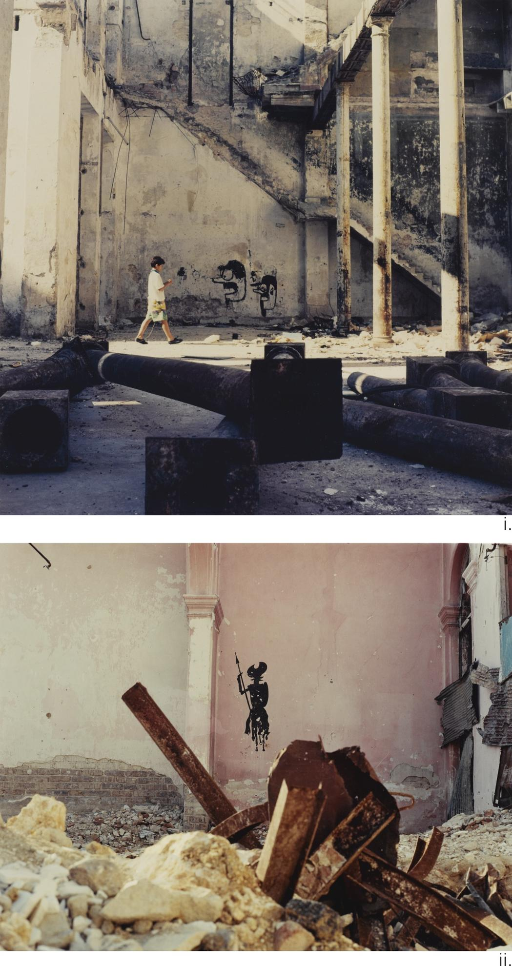 Carlos Garaicoa-(i) Dos Cabezas (Grafitti Con Nino) (ii) Quijote [Two Photographs]-1996