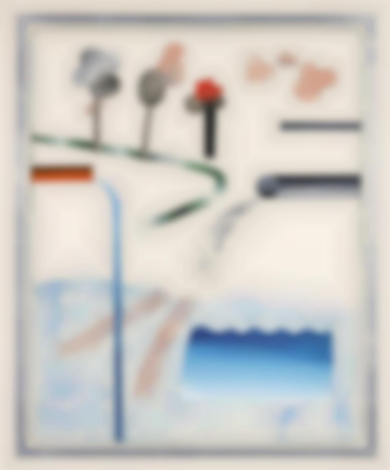 David Hockney-Different Kinds Of Water Pouring Into A Swimming Pool, Santa Monica-1965