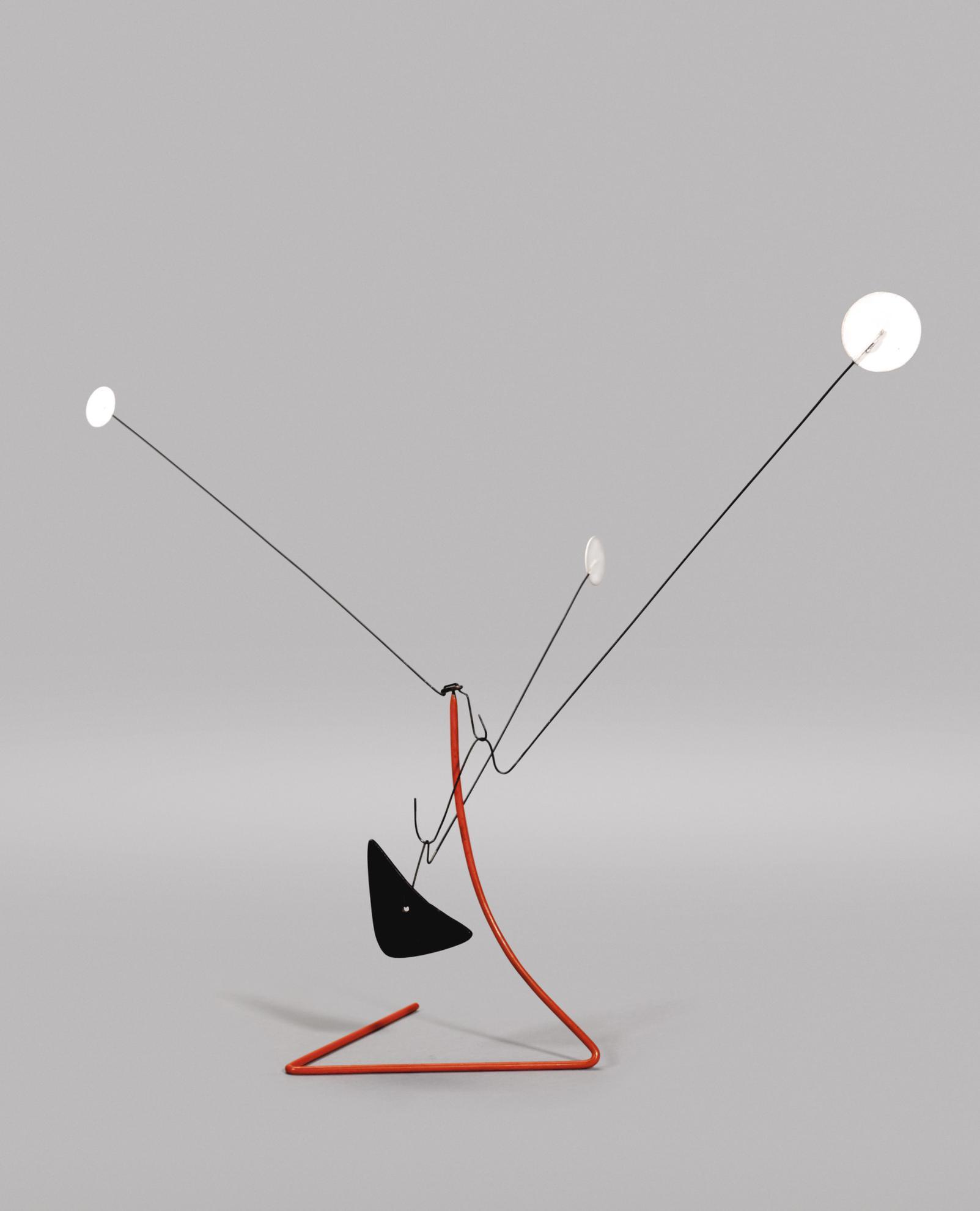 Alexander Calder-Three White Dots On Orange Stack-1952