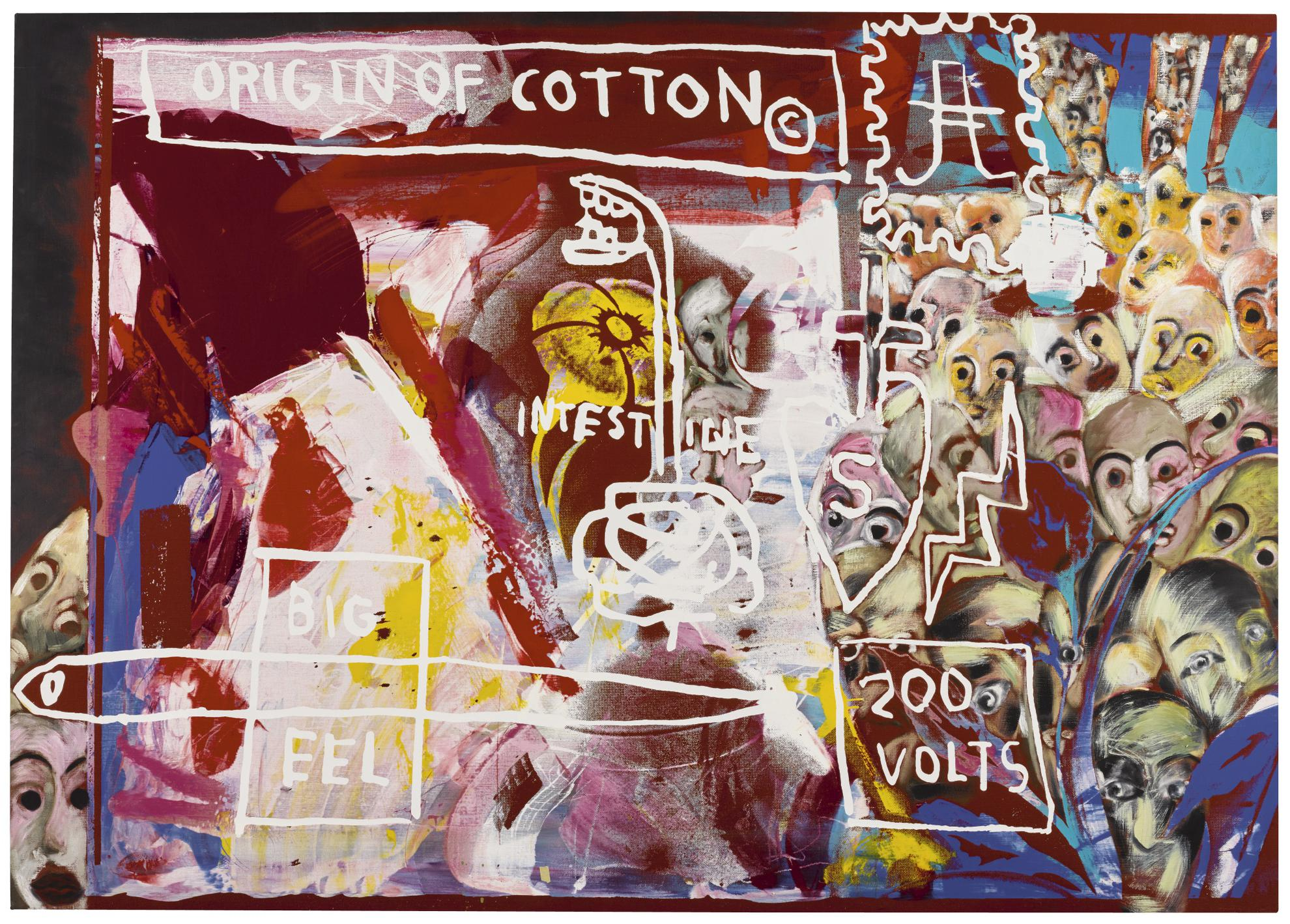 Jean-Michel Basquiat Francesco Clemente And Andy Warhol - Origin Of Cotton-1984