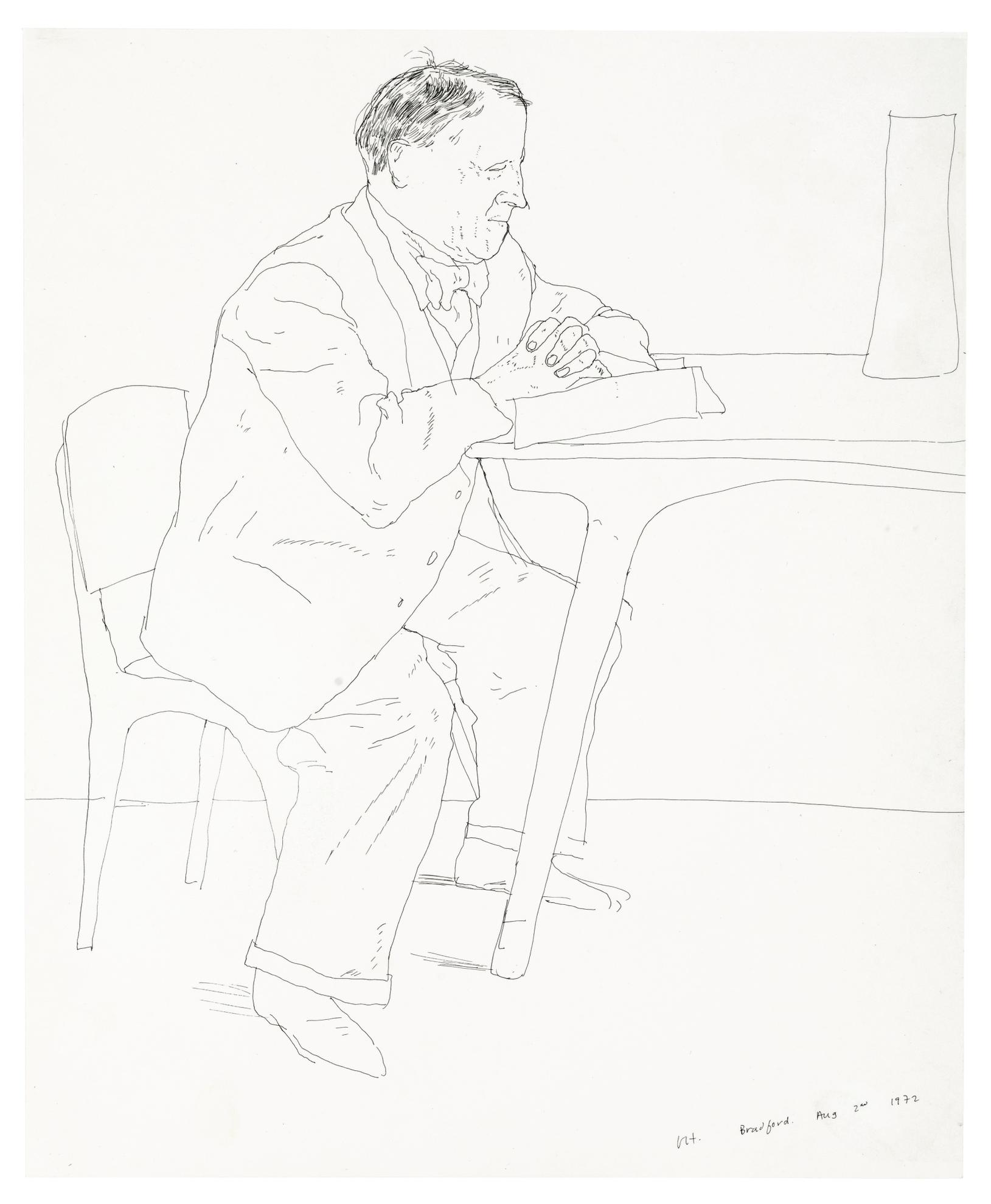 David Hockney-Artists Father Reading At Table-1972
