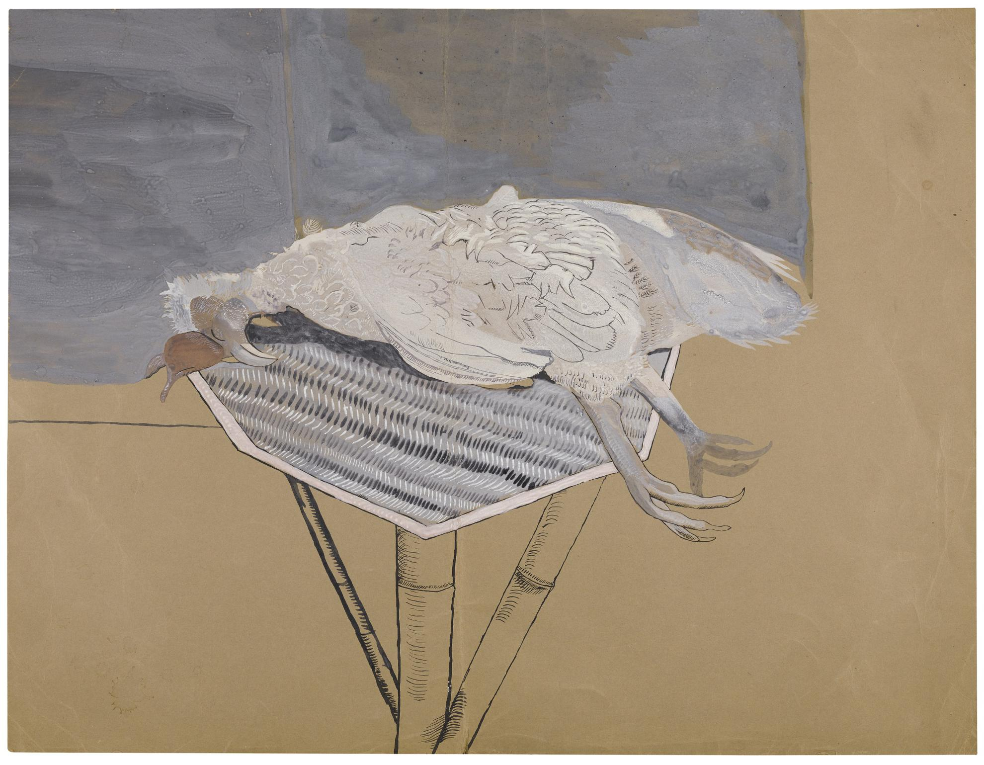 Lucian Freud-Dead Bird On A Bamboo Table-1944