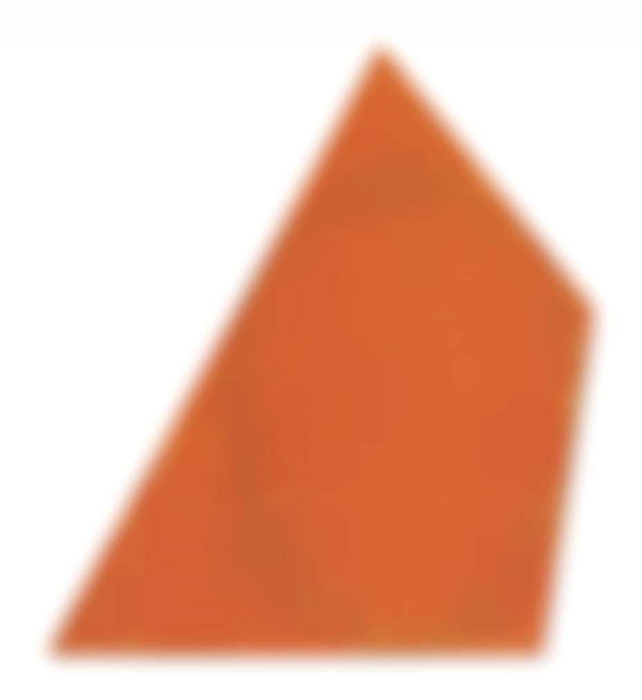 Robert Mangold-Irregular Red-Orange Area With A Drawn Ellipse #3-1986