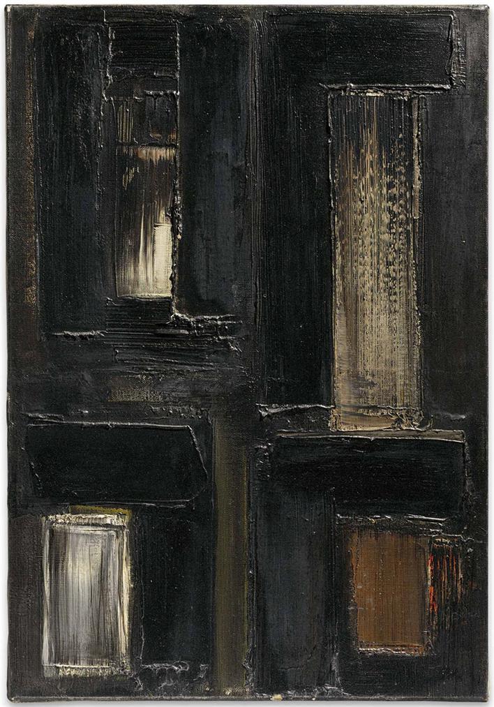 Pierre Soulages-Peinture 55 X 38 Cm, 7 Octobre 1955-1955