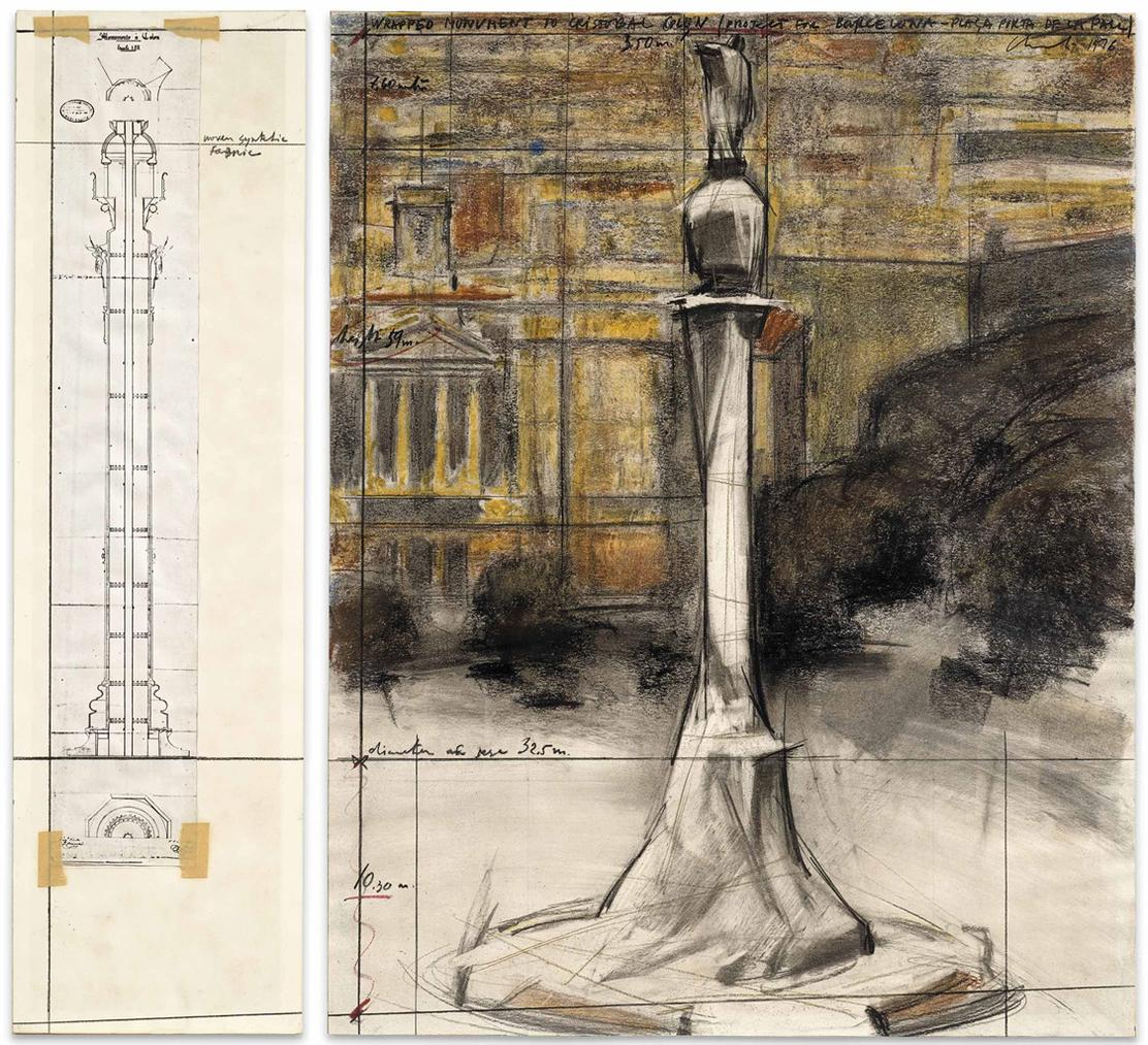 Christo and Jeanne-Claude-Wrapped Monument To Cristobal Colon (Project For Barcelona - Placa Porta De La Pau)-1976