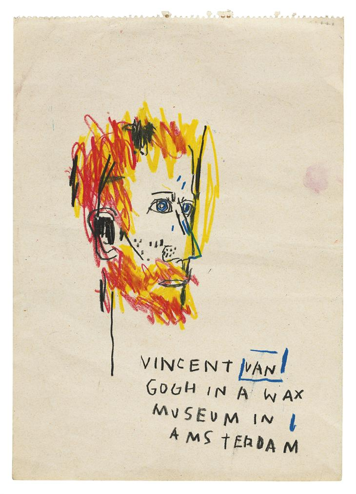 Jean-Michel Basquiat-Vincent Van Gogh In A Wax Museum In Amsterdam-1985