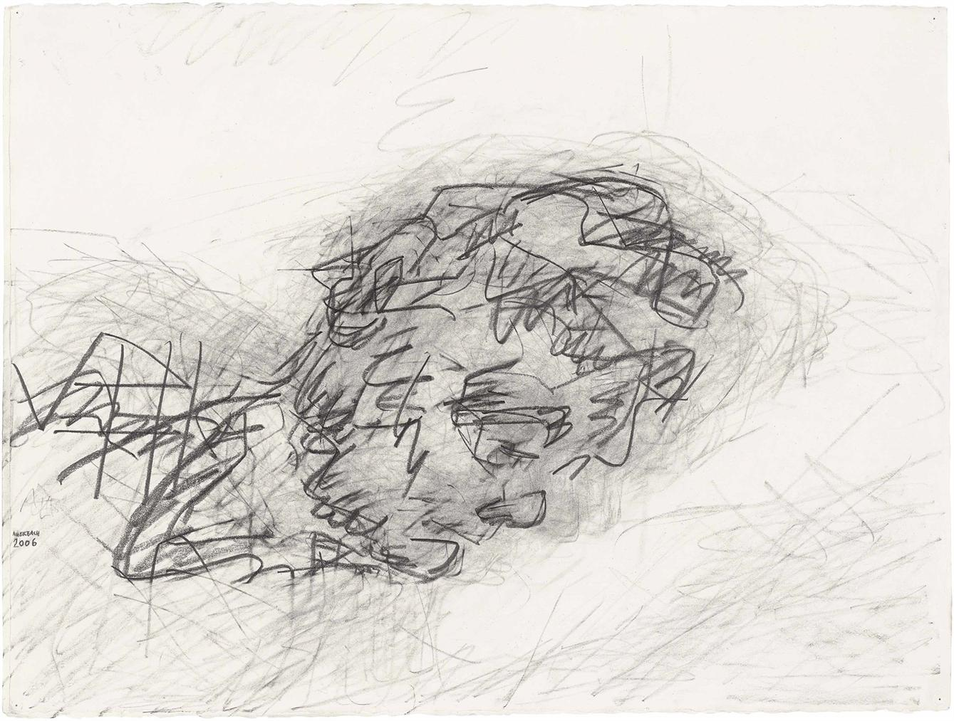 Frank Auerbach-Reclining Head Of Julia-2006