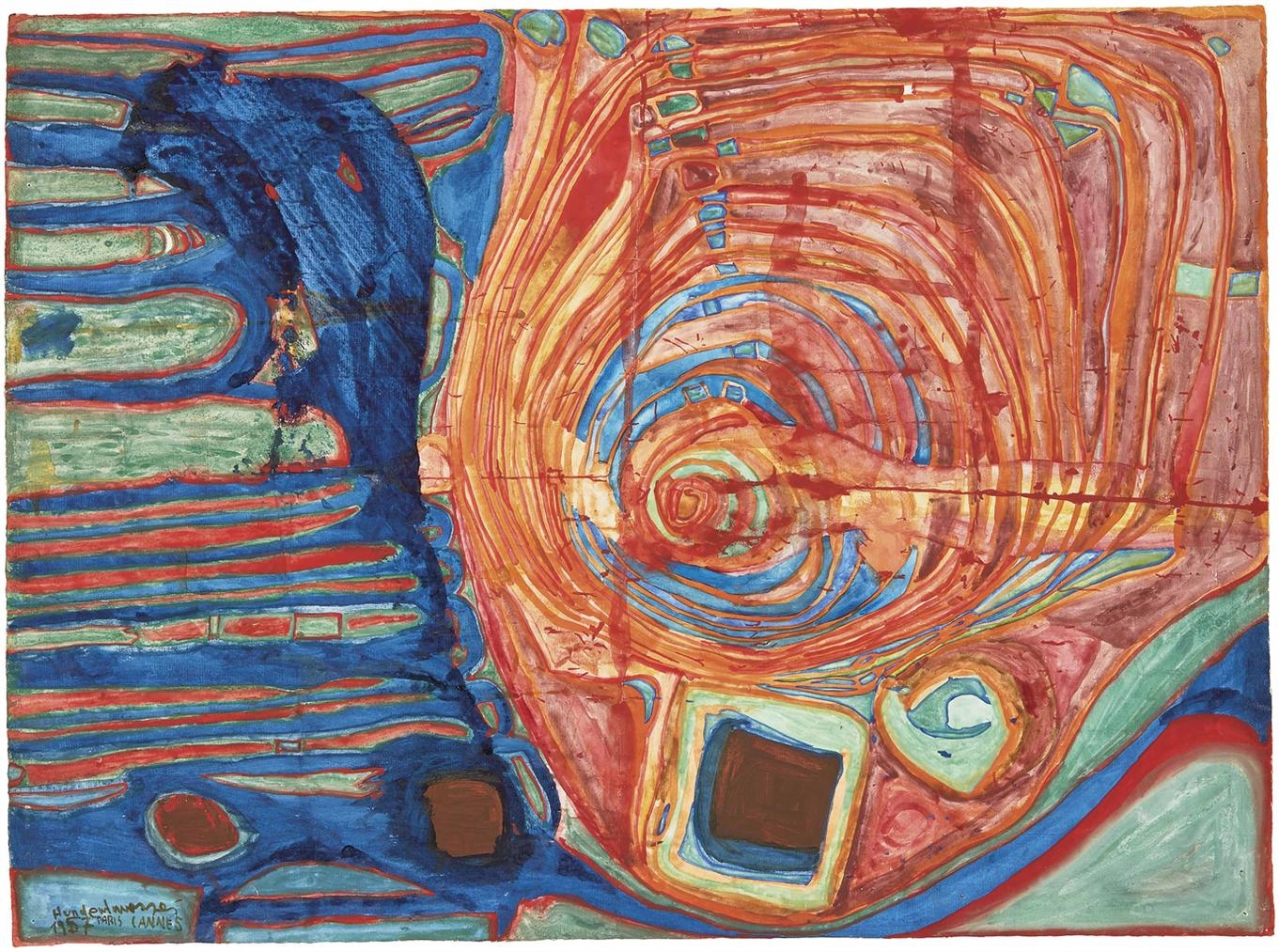 Friedensreich Hundertwasser-Soleil Enjolive Par Les Symptomes De La Maladie (The Symptoms Of The Illness Beautify The Sun)-1957